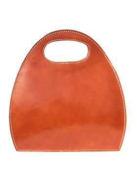 Semi oval bag with built-in handle - Tan