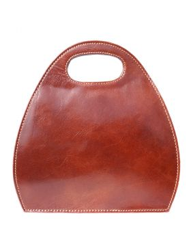 Semi oval bag with built-in handle - Brown