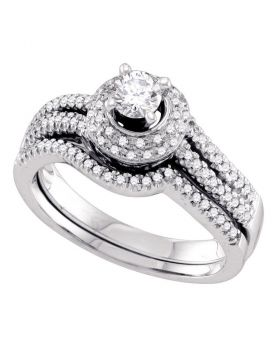 14kt White Gold Womens Round Diamond Bridal Wedding Engagement Ring Band Set 1/2 Cttw