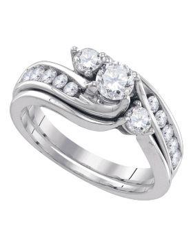 14kt White Gold Womens Diamond 3-stone Bridal Wedding Engagement Ring Band Set 1.00 Cttw