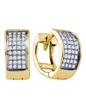 Sterling Silver Diamond Unisex Unisex Womens Huggie Hoop Yellow-tone Earrings 1/6 Cttw