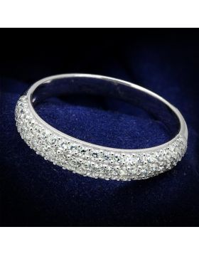 TS535-5 - 925 Sterling Silver Rhodium Ring AAA Grade CZ Clear