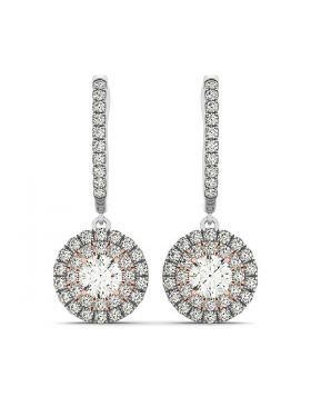 14k White And Rose Gold Drop Diamond Earrings with a Halo Design (3/4 cttw)