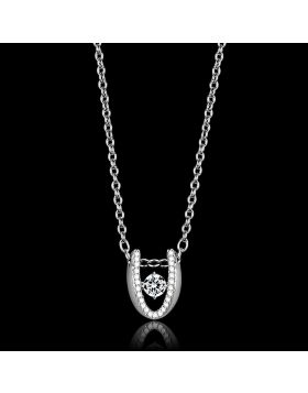 TS572-18 - 925 Sterling Silver Rhodium Necklace AAA Grade CZ Clear