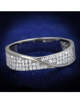 TS373-5 - 925 Sterling Silver Rhodium Ring AAA Grade CZ Clear