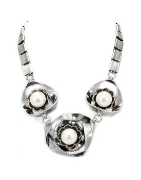 LO1867-16 - White Metal Antique Silver Necklace Synthetic White