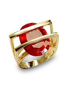 Ring 925 Sterling Silver Gold Synthetic Ruby Garnet
