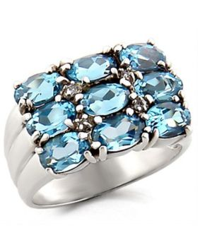 Ring 925 Sterling Silver High-Polished Synthetic Sea Blue Spinel