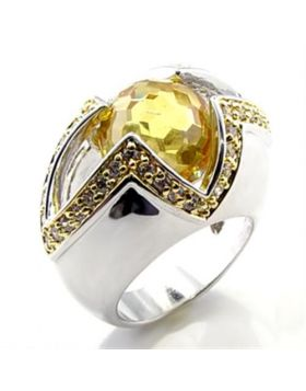 Ring Brass Reverse Two-Tone AAA Grade CZ Topaz