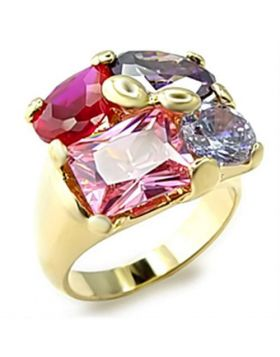 Ring Brass Gold AAA Grade CZ Multi Color