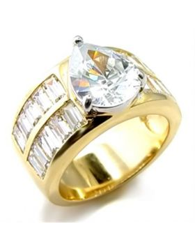 Ring Brass Gold+Rhodium AAA Grade CZ Clear