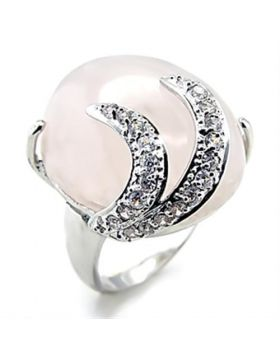 Ring Brass Rhodium Precious Stone Light Rose PINK CRYSTAL