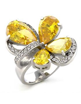 Ring Brass Rhodium AAA Grade CZ Topaz