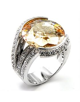 Ring Brass Rhodium AAA Grade CZ Champagne