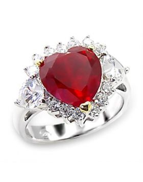 Ring 925 Sterling Silver High-Polished Synthetic Ruby Garnet