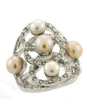 Ring Brass Rhodium Semi-Precious Multi Color Pearl