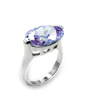 Ring 925 Sterling Silver Rhodium AAA Grade CZ Light Amethyst