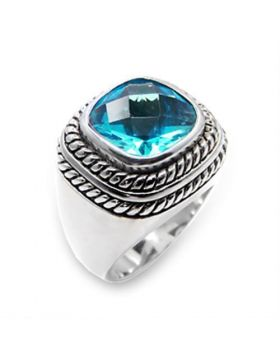 Ring 925 Sterling Silver Rhodium Synthetic Sea Blue Spinel