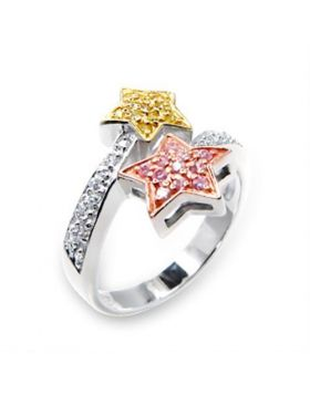 Ring 925 Sterling Silver Tricolor AAA Grade CZ Clear