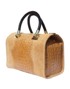 Emma leather Boston bag - Tan