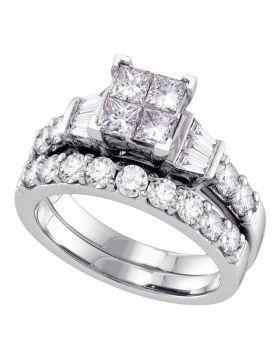 14k White Gold Womens Princess Diamond Invisible-set Wedding Bridal Engagement Ring Set 1 Cttw