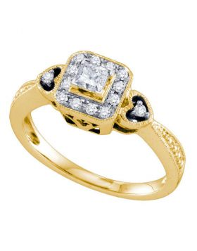 14k Yellow Gold Princess-cut Diamond Womens Bridal Wedding Engagement Ring 1/3 Cttw