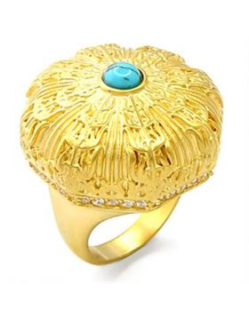 Ring Brass Gold Synthetic Sea Blue Turquoise
