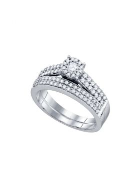 14kt White Gold Womens Round Diamond Bridal Wedding Engagement Ring Band Set 5/8 Cttw