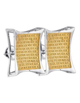 Sterling Silver Unisex Round Yellow Color Enhanced Diamond Square Kite Cluster Earrings 1/3 Cttw