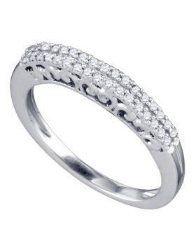 10k White Gold Round Pave-set Diamond Womens Slender Bridal Wedding Band 1/5 Cttw
