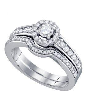14kt White Gold Womens Round Diamond Bridal Wedding Engagement Ring Band Set 3/4 Cttw