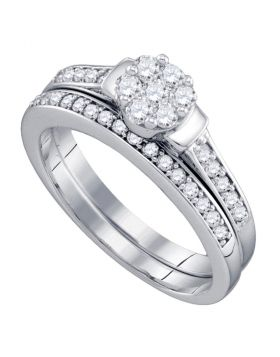 10kt White Gold Womens Diamond Cluster Bridal Wedding Engagement Ring Band Set 1/2 Cttw
