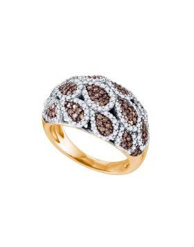 10kt Rose Gold Womens Round Brown Diamond Fashion Ring 1.00 Cttw