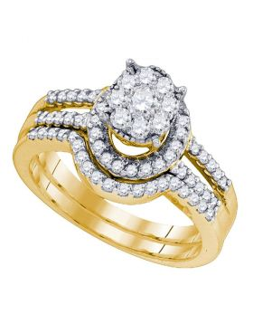 10kt Yellow Gold Womens Round Diamond Elevated Cluster Bridal Wedding Engagement Ring Band Set 3/4 Cttw