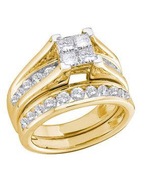 10kt Yellow Gold Womens Princess Diamond Bridal Wedding Engagement Ring Band Set 1/2 Cttw