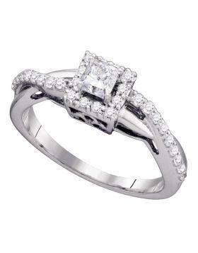 14kt White Gold Womens Princess Diamond Princess Bridal Wedding Engagement Ring 1/2 Cttw