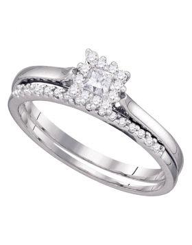 10kt White Gold Womens Princess Diamond Halo Bridal Wedding Engagement Ring Band Set 1/4 Cttw