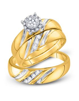10k Yellow Gold Round Diamond His & Hers Matching Trio Wedding Bridal Engagement Ring Band Set 1/5 Cttw
