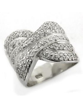 LOAS1154-5 - 925 Sterling Silver High-Polished Ring AAA Grade CZ Clear