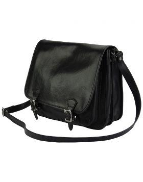 Palmira Leather Messenger Bag - Black