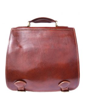 Leather briefcase with two compartments - Brown