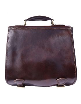 Leather briefcase with two compartments - Dark Brown