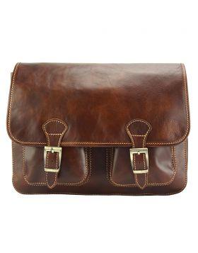 Pamela Leather Messenger Bag - Brown