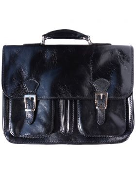 Leather briefcase (2 compartments) - Black