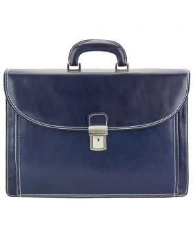 Filippo Leather Business Briefcase - Blue