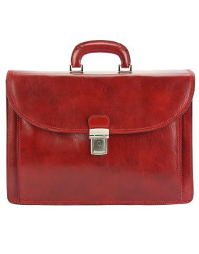 Filippo Leather Business Briefcase - Red