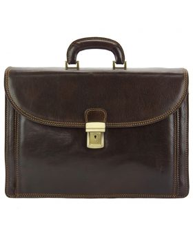 Filippo Leather Business Briefcase - Brown