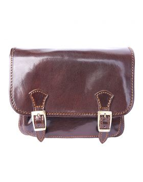 Mini leather messenger bag - Brown