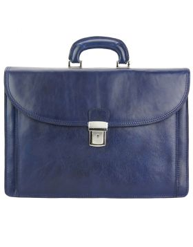 Beniamino Leather Business Briefcase - Blue