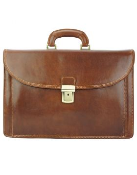 Beniamino Leather Business Briefcase - Brown